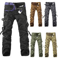 Mens Fashion Army Cargo Camo Combat Military Work Trousers Casual Pants Bottoms