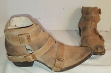 NEW FREEBIRD by STEVEN BEIGE DISTRESSED SUEDE ANKLE BOOTS WOMEN'S SIZE 7