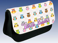CUTE OWL DESIGN PERSONALISED PENCIL CASE / MAKE UP BAG  - GREAT GIFT & NAMED