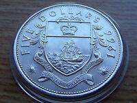 BU 1966 London Minted Gem  Bahamas 5 $ Dollar Sterling Silver 45mm with HOLDER!