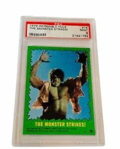 The Incredible Hulk Lou Ferrigno 1979 Topps Marvel Comics Card PSA 9 Strikes #15