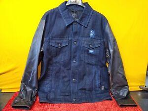🔥Harley Davidson Motor clothes Men's Leather Sleeve Denim Jacket XL Slim🔥