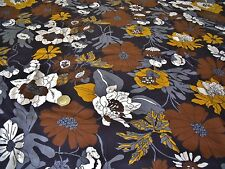 ITALIAN  COTTON  PRINT-BROWN/MUSTARD LARGE FLORAL-DRESS FABRIC-FREE P&P