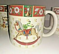 Set of 4 Classic Traditions Charlton Hall Christmas Mugs Rocking Horse Soldier