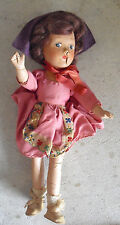 """Vintage 1930s Jointed Composition Character Girl Doll 10 1/2"""" Tall"""