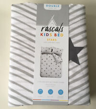 Rascals Stars Double Kids Duvet Cover Set - white & grey BRAND NEW