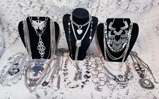 22 Piece Modern and Vintage Silvertone Mixed Necklace Lot - Trifari