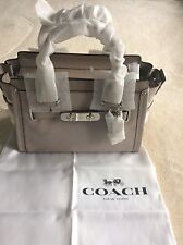 NEW Coach Swagger Pebbled Leather Zip Top Grab Shoulder Bag Grey Birch RRP £425