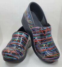 Dansko Rainbow Colorful Paint Strokes Lines Black Leather Nursing Shoe Clogs 38