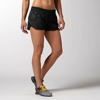 New Women's Reebok CF Knit Woven Shorts Running Crossfit Gym Black Jog Yoga