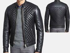 Flecha Hombre Cuero Real Acolchado Slimfit negro chaqueta de moto veste De Moto