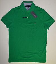 NWT Men's TOMMY HILFIGER Short Sleeve Polo Shirt, M, Medium, Green, Slim Fit