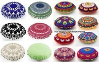 "16"" Cotton Cushion Cover Wool Hand Embroidery Suzani Art Boho Decor Pillow Round"
