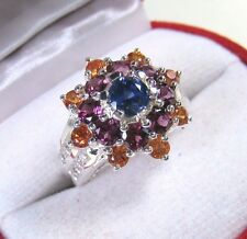 3.96 CTW BLUE/FANCY SAPPHIRE & RHODOLITE RING size 7 WHITE GOLD over 925 SILVER
