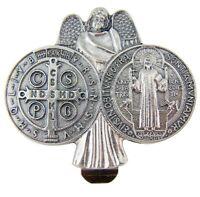 Religious Gift Travel Protection Guardian Angel Saint Benedict Medal Visor Clip