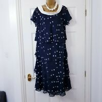 Jacques Vert Dress Sz 14 Blue Layered Cowl Neck Occasion Wedding Party Cruise
