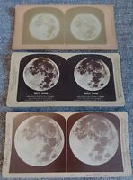 ANTIQUE STEREOVIEW STEREOSCOPIC CARD Full Moon - LOT OF 3 1891 1899