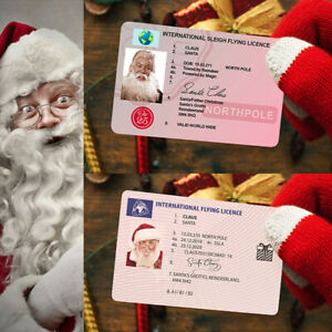 1/10x Plastic Santa Claus Flying Licence Christmas Eve Driving Licence Style&&