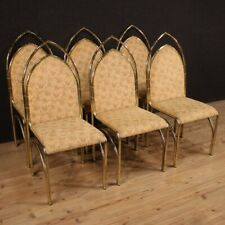 Six Chairs Furniture Seats Armchairs Of Design IN Metal Gold Living Room Vintage