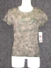 SEVEN 7 COLLECTION Green Abstract Print Stretch T-Shirt  SZ L NEW