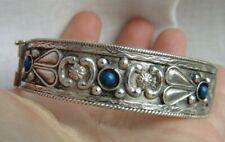 Vintage/Antique Sterling Silver 925 Theodor Fahmer style Blue  Bangle Bracelet.
