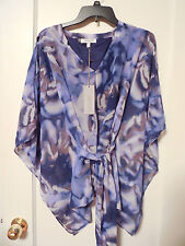 NWT JENNIFER LOPEZ Womens Purple Tie-Dye Blouse Size Small - MSRP $48