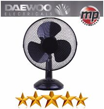 "Daewoo Black 12"" 3 Speed Electric Oscillating Worktop Desk Table Air Cooling Fan"