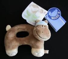 NOUKIE'S HIPPOLITE HIPPOPOTAMUS PLUSH RING RATTLE NWT - VINTAGE, RETIRED, RARE