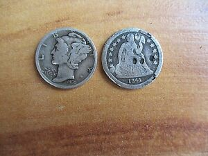2 US SILVER COINS 1841  SEATED LIBERTY DIME + LIBERTY HEAD 1935 DIME