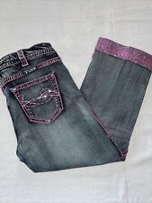 """COWGIRL TUFF Co. PINK SPARKLE Capri Stretch Jeans Women's Tag 32 - (34"""" Actual)"""