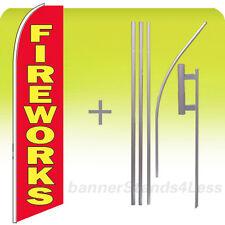 Fireworks Swooper Flag Kit Feather Flutter Banner Sign 15' Tall - rb