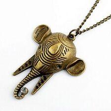 Vintage Art Deco stile bronzo elefante testa collana