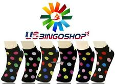 Lot of 12 Pairs Women's Girls Polka Dots Ankle Low Cut Socks 9-11 Spandex Ypk014