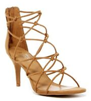 REPORT Womens Korina Tan Knotted Strappy Zip Up Slim Heels Sandals Size 8.5