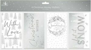 4 Pack Christmas Money Wallets with Envelopes - Silver Designs