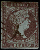 Sello de España 1855 Isabel II nº 42 violeta 2 reales matasellado Spain rf.02
