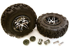 C27040BLACK 2.2x1.75-in. Alloy Wheel, Tires, 14mm OffSet Hubs for 1/10 Crawler