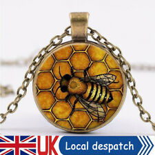 Bumble Bee Vintage Realistic Honeycomb Cabachon Necklace Pendant Jewellery