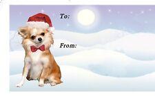 Chihuahua Longcoat Dog Christmas Labels No. 8. design by Starprint