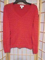 ANN TAYLOR LOFT Women's Burnt Orange Cable Knit Pullover Sweater Sz M