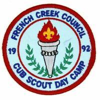 1992 Cub Scout Day Camp French Creek Council Patch Boy Scouts BSA PA