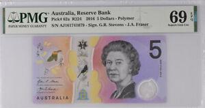 Australia 5 Dollars 2016 P 62 Polymer Superb GEM UNC PMG 69 EPQ