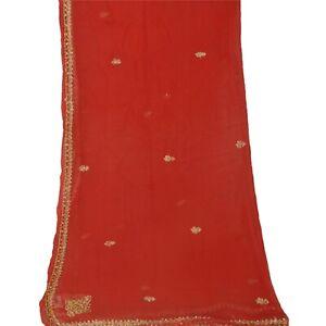 Tcw  Vintage Dupatta Long Stole Chiffon Silk Red Hand Beaded Wrap Veil