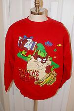 Vtg 90s Taz Santa's Helper Looney Tunes Christmas Sweatshirt XL