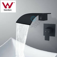 Black Square Wall Waterfall bath spout with shower mixer tap set Watermark brass