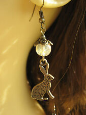 Bronze Hare Earrings Tourmaline Gemstone Beads Animal Totem Hedgewitch Pagan