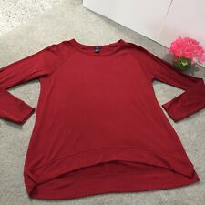 Gap Red Long Sleeve Tunic Shirt Top Blouse Women's Size Large