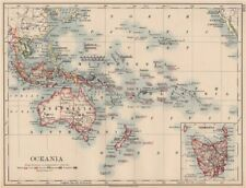 Coloniale Oceania pacific.british olandese spagnolo francese tedesco portoghese 1906 mappa