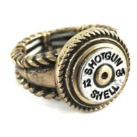 Western Cowgirl Stretch Ring 12 Gauge Shotgun Bullet Shell Patina Silver Copper