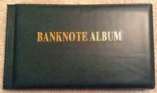 Green Banknote Album. Fits 40 + Banknotes. Collectors Supplies.